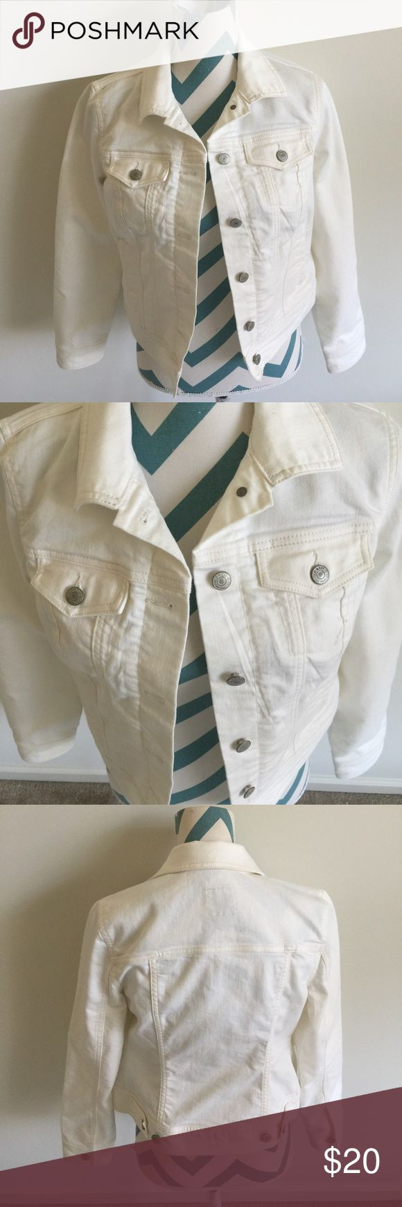 Old Navy Jacket Like new cream/off white colored denim/jean jacket. Silver button down. Material is super stretchy. No flaws! Old Navy Jackets & Coats