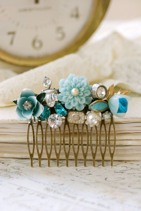 Antique brass hair comb with vintage  touches.  Something blue. Floral wedding collage shabby chic hair comb. Tiedupmemories. $72.00, via Etsy.