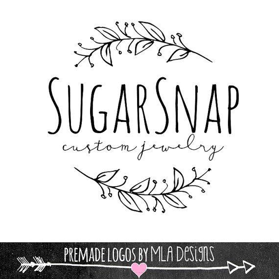 Sugar Snap Laurel Custom Logo Design Premade Logo by MLAdesigns                                                                                                                                                                                 More