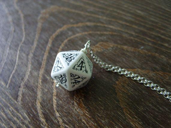 D20 dice pendant D20 jewelry elf dice pendant elvish d20 dice black white inscriptions elvish runes dark elf tolkien fantasy pathfinder dice  Check