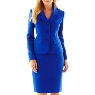 Le Suit® 3-Button Notch Collar Skirt Suit - jcpenney
