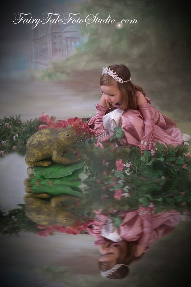 Princess and Frog Kiss by Pond Girl in a Pink Princess Dress Fairytale | Portrait Poses | Photo Idea | Photography | Cute Kid Pic | Baby Pics | Posing Ideas | Kids | Children | Child | ~Bountiful Utah Photographer close to Salt Lake City | Ogden | Provo UT~