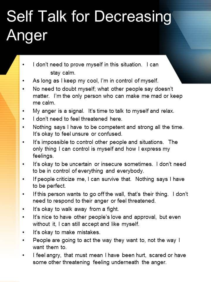 Anger management lesson for adults