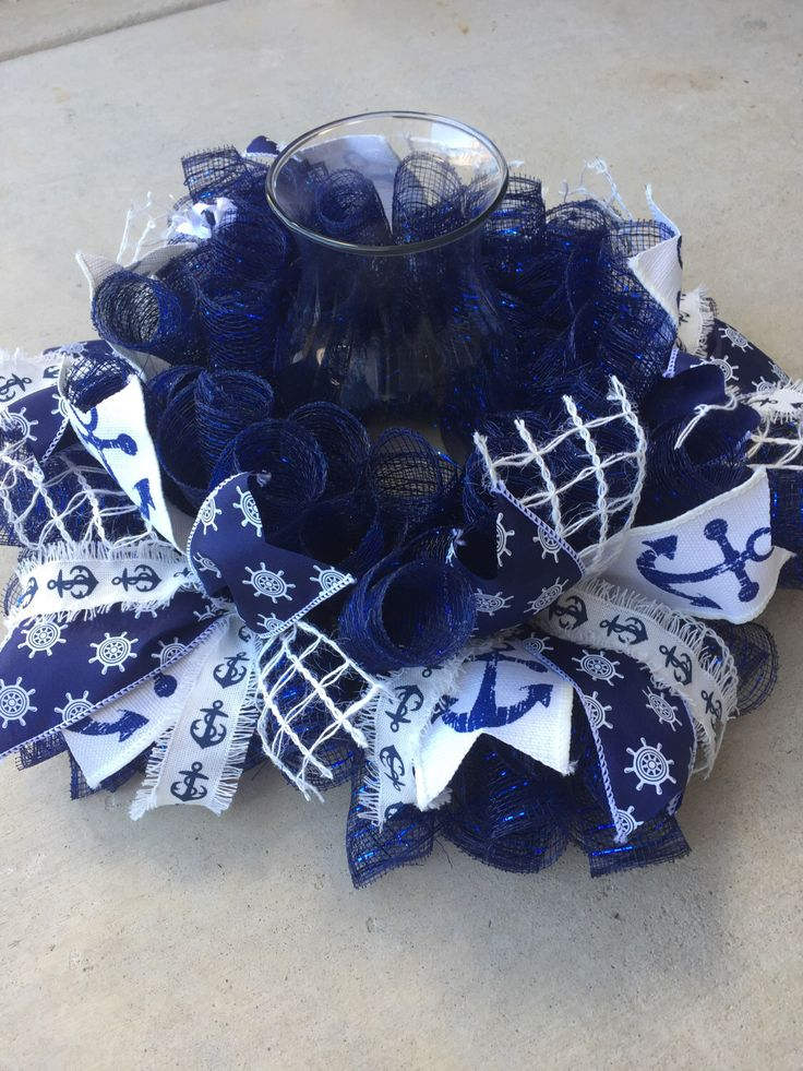 Navy Blue Large Mesh Anchors Centerpiece by JEMCrafty on Etsy https://www.etsy.com/listing/498091870/navy-blue-large-mesh-anchors-centerpiece