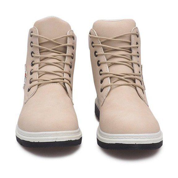 Trekkingowe Damskie Butymodne Brazowe Ocieplane Timberki Trapery Sj1679 5 Bezowy Beige Trekking Shoes Women Shoes