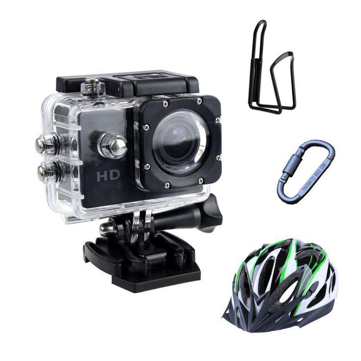 R$ 130,00 Kit Câmera esportiva com case à prova dágua + suporte para squeeze, mosquetão e capacete - Acessórios para Ciclistas no Extra.com.br