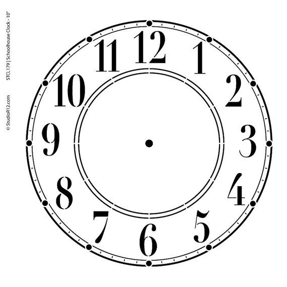 Schoolhouse Clock Stencil  Select Size  by StudioR12 por StudioR12