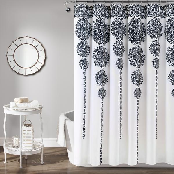 Stripe Medallion Shower Curtain Roskoshnye Vannye Komnaty Dizajn