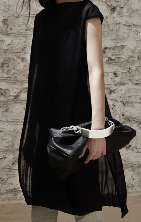 Black leather handbag, chic fashion details // Maison Martin Margiela Resort 2014