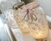 I really love these.  They would be great for a wedding too.Ideas, Masons, Doilies, Lace Mason Jars, Candles Holders, Teas Lights, Mason Jars Candles, Diy, Crafts