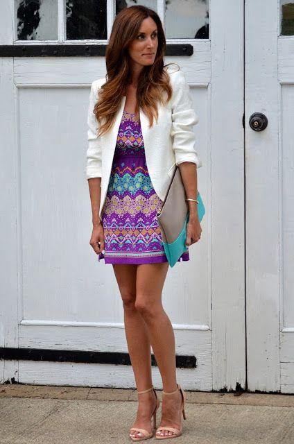 printed dress + white blazer