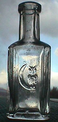 Coolest and Tiniest Antique OWL bottle in existence w/ pic of Owl on MOON. Rare, Original hand blown GILLETT Extract bottle 1800's..  via Etsy.