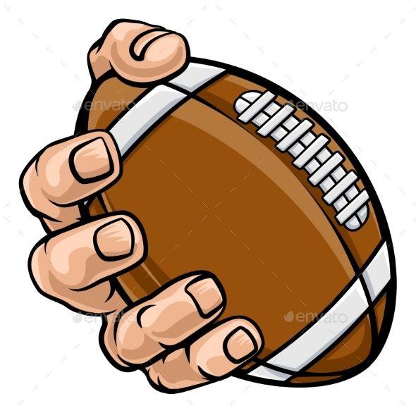 Hand Holding American Football Ball Football Ball American