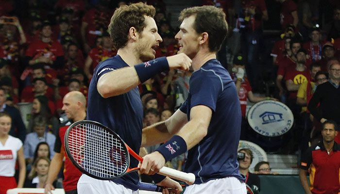 11/28/15 Davis Cup Final 2015: Doubles: GB bros Andy and Jamie Murray beat Belgian duo to take 2-1 lead into final...  Great Britain move step closer to first Davis Cup triumph since 1936 with four-set victory over David Goffin and Steve Darcis.