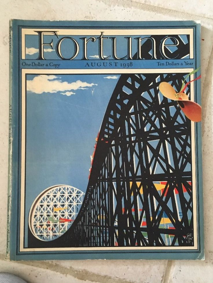 FORTUNE Aug 1938.Features Coney Island NY. Illustrations Robert Riggs. Stand Inc
