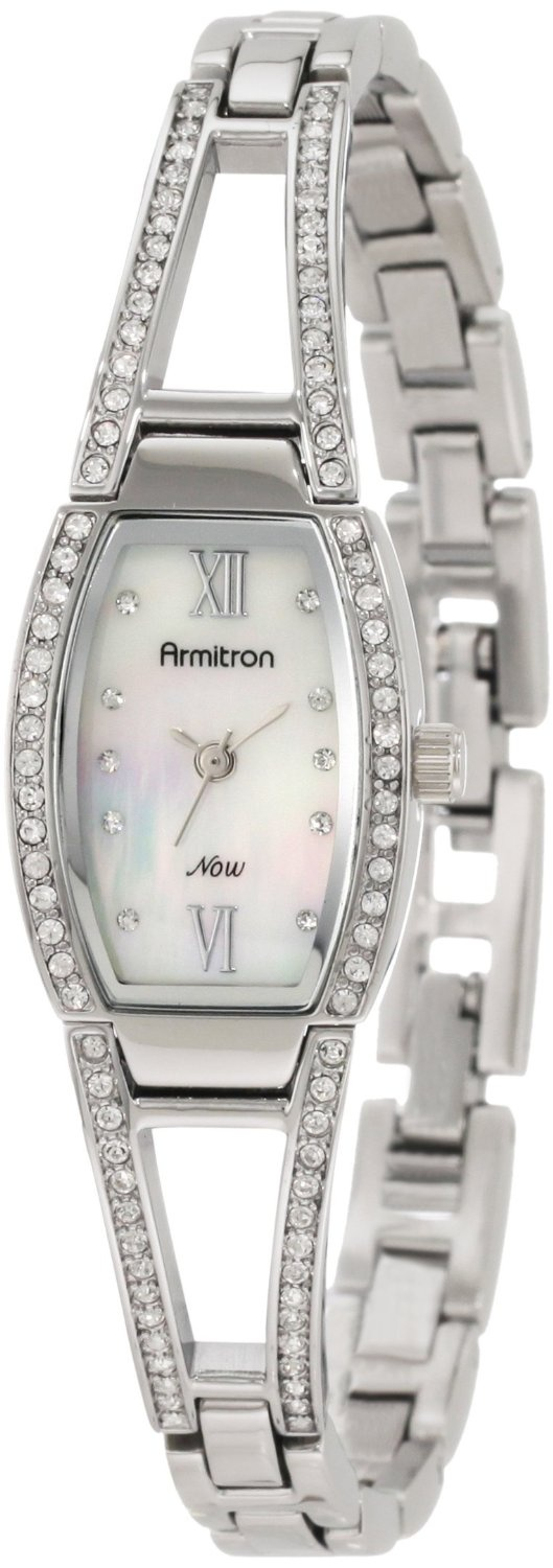 Armitron Women's 753531MPSV NOW Swarovski Crystal Accented Silver-Tone Bangle Bracelet Watch, (crystal, armitron, watches, womens watch, diamond accented, diamond watch, dress watches, silver, womens watches)