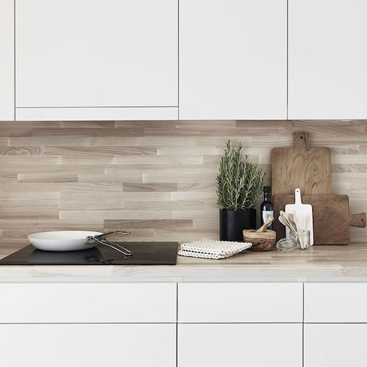 wood backsplash, brilliant! Lovenordic Design Blog