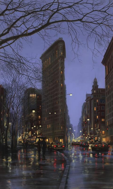 Rain in Flatiron Building, NYC | Photo-like painting, Artists : Evgeny Lushpin