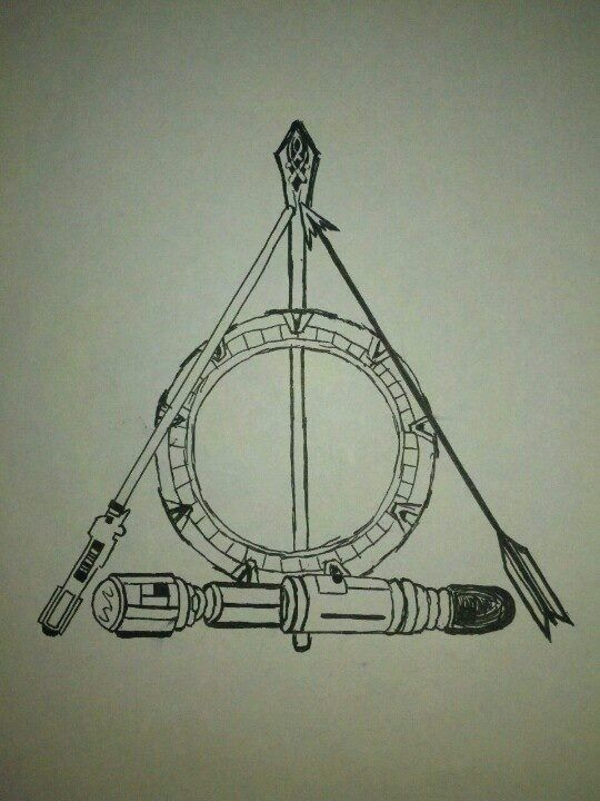 """Pinner said """"My daughter drew this earlier this year as a tattoo idea for the ubergeek inside. It covers: Doctor Who, Stargate, Harry Potter, Star Wars, Lord of the Rings and The Hunger Games"""". Kudos to whoever originally pinned this! It's awesome!"""