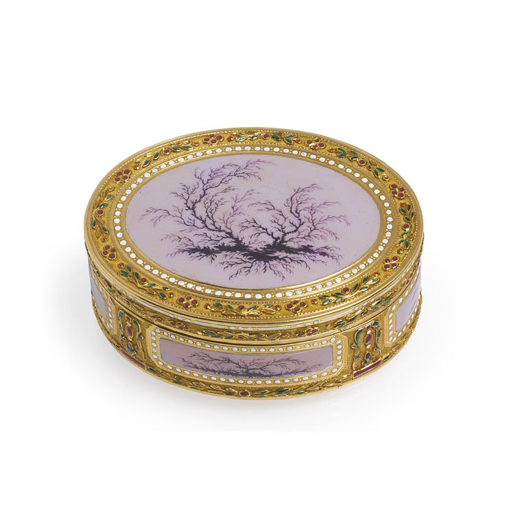 "A Louis XVI gold and polychrome enamel snuff box, Charles-Alexandre Bouillerot, retailed by Charles-Raymond Granchez ""Au Petit Dunkerque"", Paris, 1778. With translucent lilac enamel panels painted in sepia en camaiëu simulating moss agate, bordered in raised gold floral motifs set with red, green or white enamels."