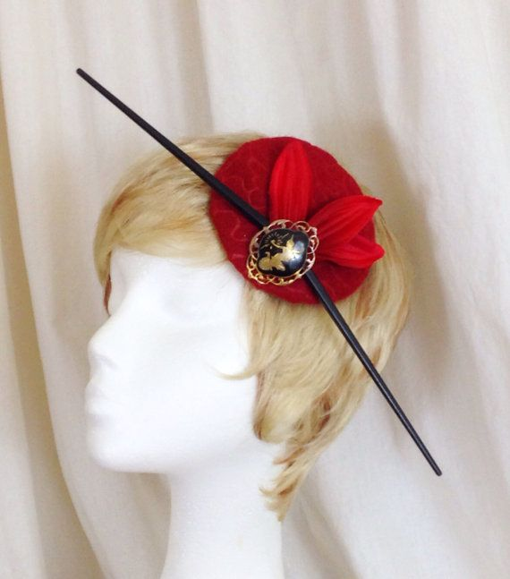 Asian chopstick black and red derby fascinator hat on Etsy, $30.00