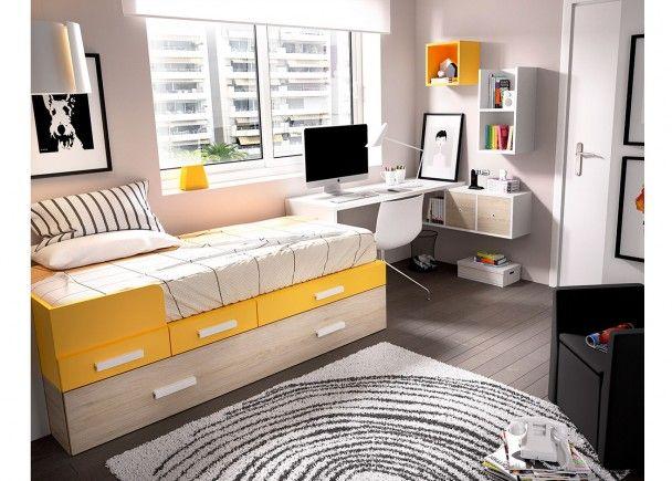 Dormitorio Juvenil con Cama NidoEscritorio recto