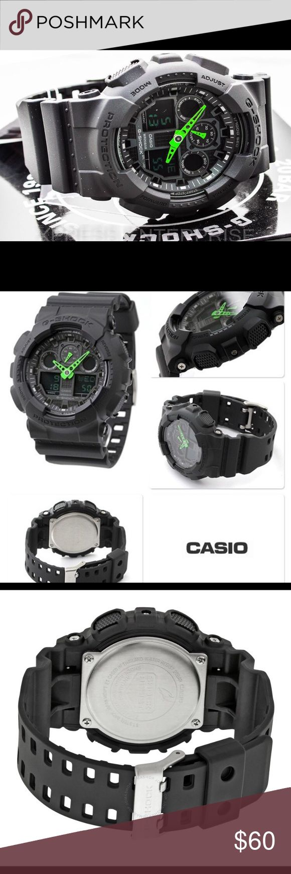 NWT Men's Casio G Shock GA100 Black/Green edition BRAND NEW G Shock GA100. Black with green analog, comes in full packaging! Great for Stylish casual everyday wearing! In stock, ready to be shipped. We ship within 24 hours, you will receive it within 1-3 business days! Our guaranteed! Casio Accessories Watches