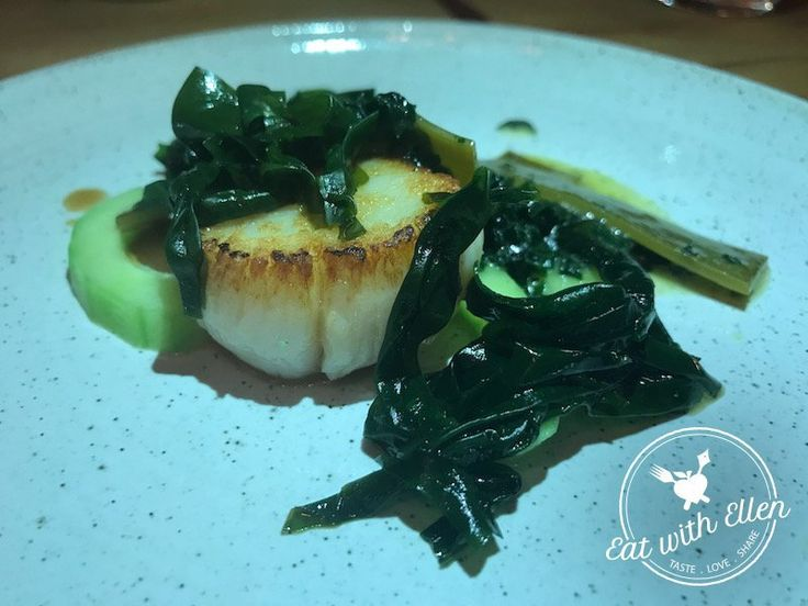 A roast hand-dived scallop with braised seaweed, seaweed butter and cucumber. A real taste of the sea at Salt, Stratford-Upon-Avon.