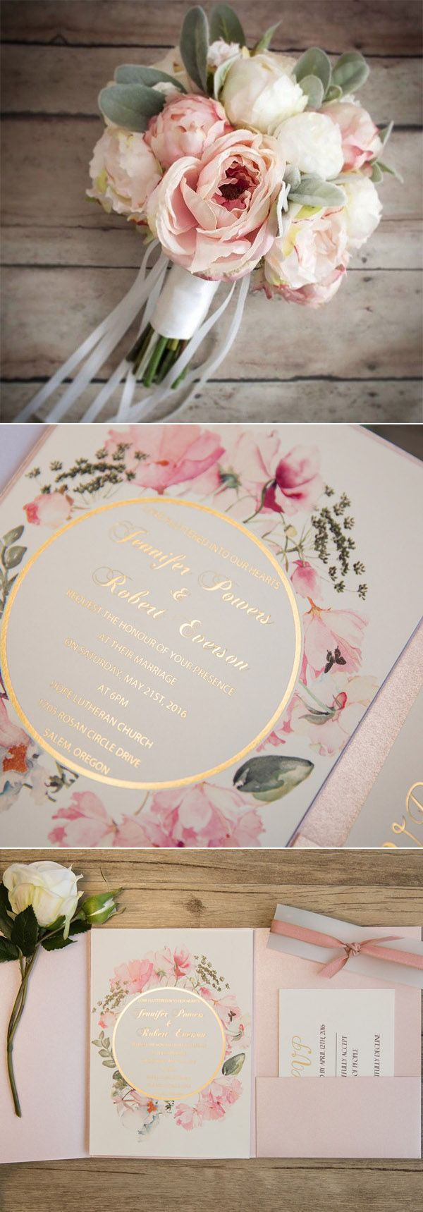 Wedding invitations with painted flowers and glittery wording are perfect for a romantic wedding. You can discover this wedding invitation on Elegant Wedding Invites.