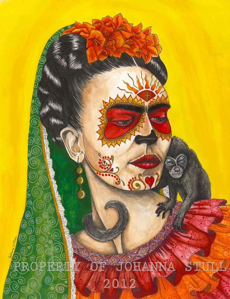 Friday Kahlo day of the dead print 9x12 by mojolicious on Etsy