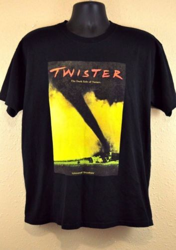 Twister Movie Universal Studios TShirt in Men's Size Large featuring tornado movie cover on front of a solid black tee. True vintage item from 90s!