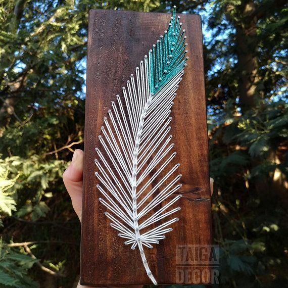 Feather string art on wood tribal boho minimalist decor – indian southwest style