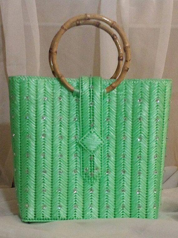 Electric Green Chevrons An Helena Sassy Handbag Original