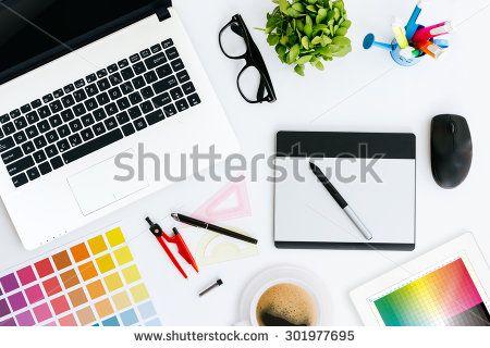 professional creative graphic designer desk - stock photo