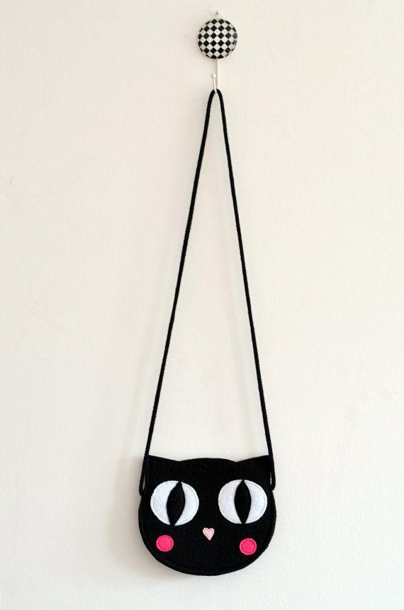 Black Cat Bag, Mini blackchildrens bag, kids bag, kids purse, animal bag, bow handmade, girl bag
