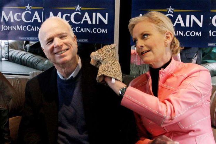 "Meghan McCain fires back after report of Trump supporter calling for her father's death  -  August 23, 2017:      In this Jan. 19, 2008, file photo, Cindy McCain, wife of Republican presidential hopeful Sen. John McCain, R-Ariz., uses a cheetah hand puppet to make her husband laugh as they ride the ""Straight Talk Express"" campaign bus to a polling station on the day of South Carolina's Republican presidential primary in Charleston, S.C."