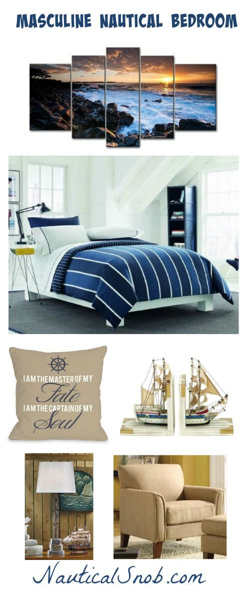 Masculine nautical bedroom design with nautical bedding