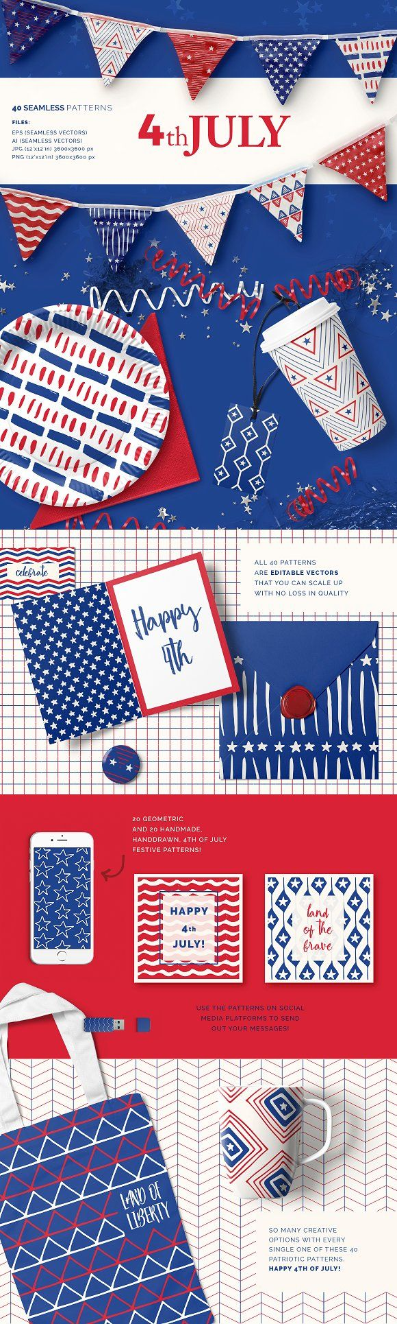 4th of July Patterns by Youandigraphics on @creativemarket