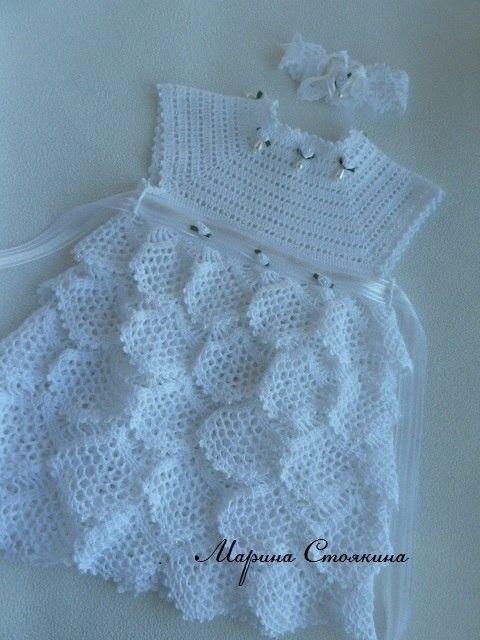 Платьице и повязка для малышки (Вязание крючком) | Журнал Вдохновение Рукодельницы