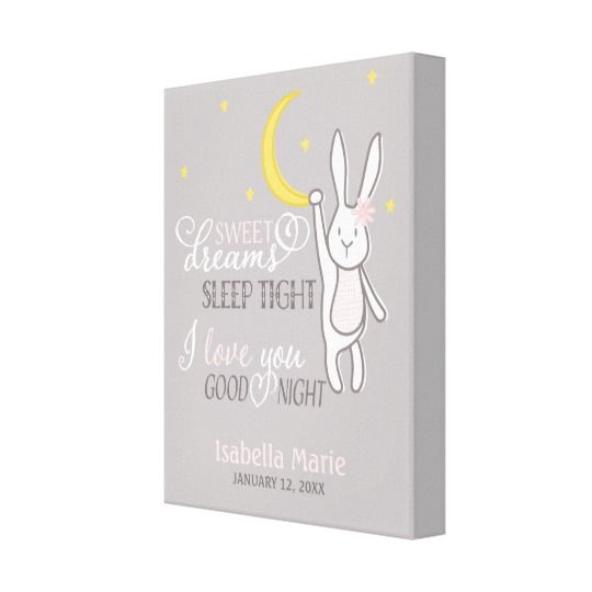 15 best baby moose baby shower images on pinterest moose baby sweet dreams girl bunny nursery print personalized baby gift negle Choice Image