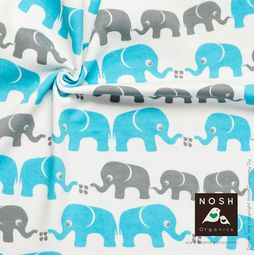 Organic cotton Jersey Elephants Peacock Blue / Gray