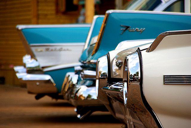 Chevy Belair, Plymouth Fury, Ford Thunderbird.