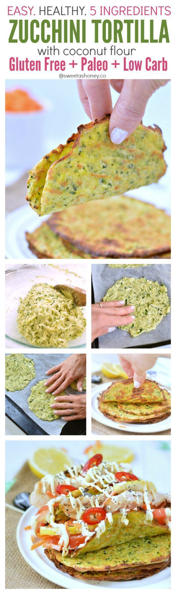 Homemade tortillas made with grated zucchini and coconut flour. An healthy tortillas to boost your 5 a day intake! Low carb, clean eating tortilla recipe.