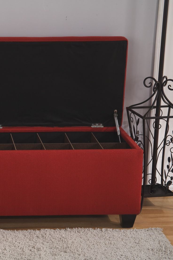 The Sole Secret Red Upholstered Small 4ft Shoe Storage