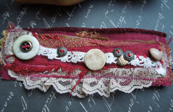 Red Upcycled Fabric Textile Bohemian Wrist Cuff by dwhitecreations