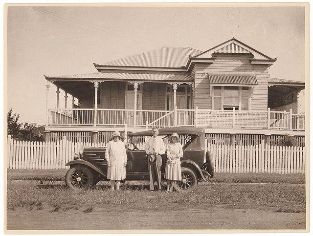 """Queenslander"" house and car, ca. 1930 / photographer Sam Hood | Flickr - Photo Sharing!"
