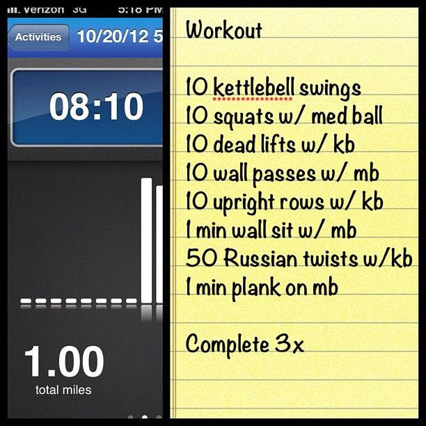 Quick Workout: 1 Mile run then strength training with medicine balls and kettle bells