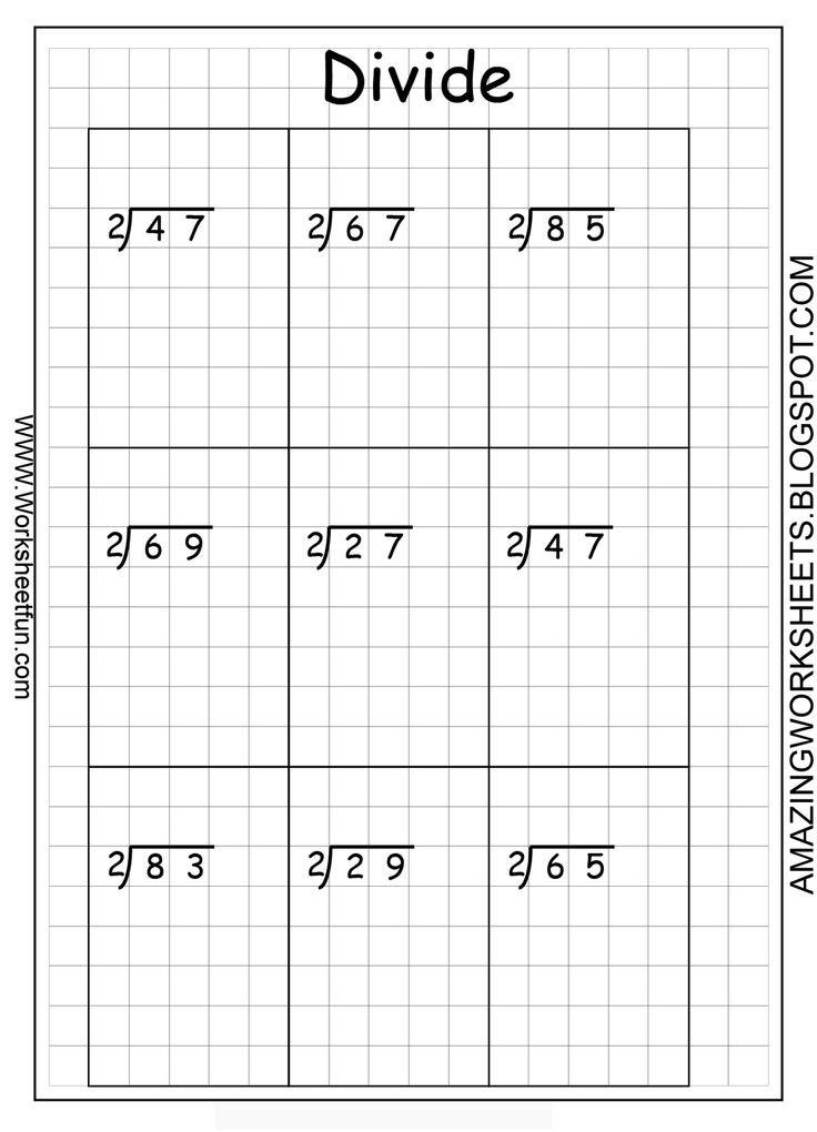 printable long division questions on graph paper | Multiplication ...