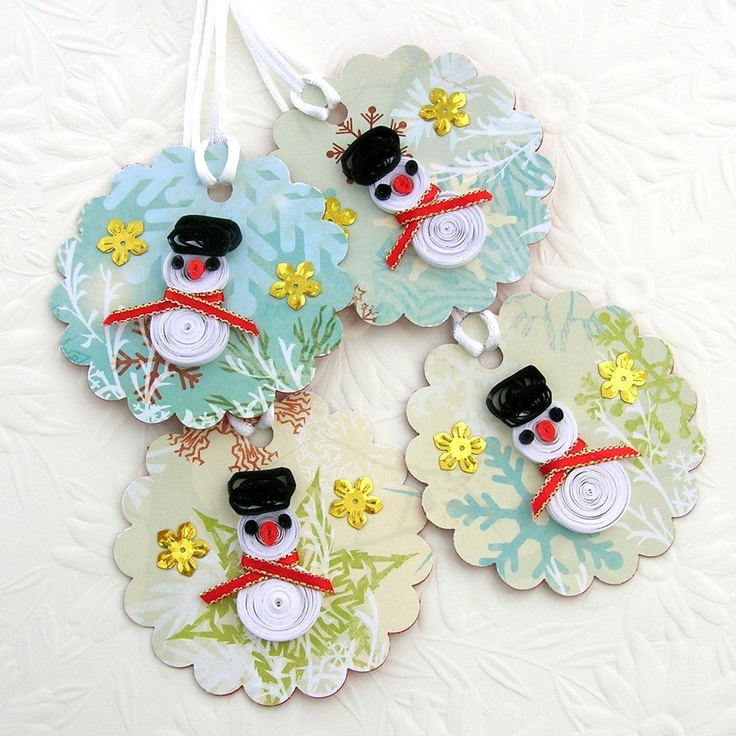 Tags Paper Quilled SNOWMAN Handmade Quilling Christmas