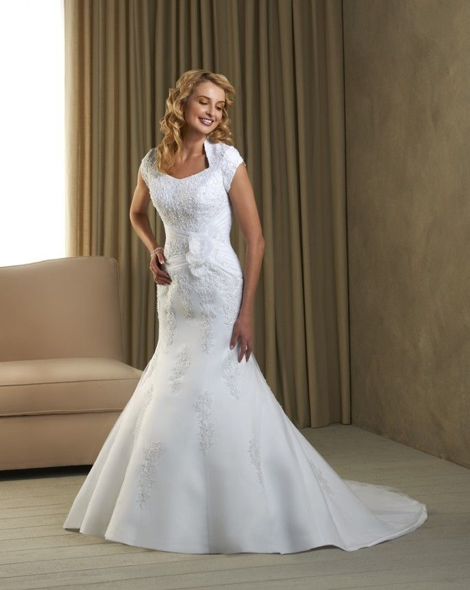 87 best find your modest gown images on pinterest modest for Queen anne neckline wedding dress